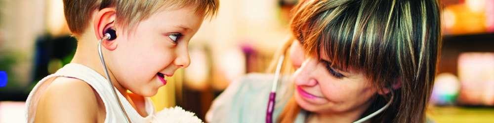 Female GP stethoscope with child | Wavelength Medical Recruitment